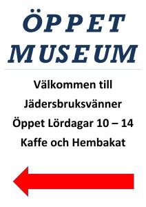 Skylt Öppet museum trottoarpratare_1